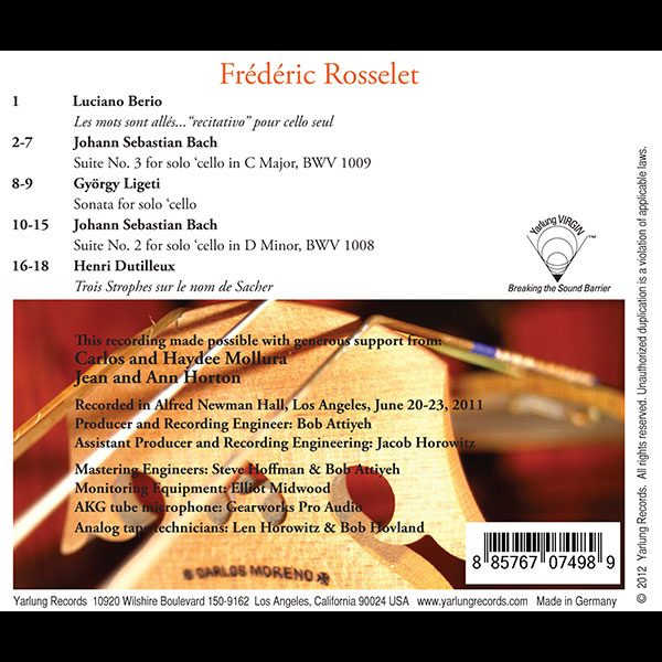 Frederic Rosselet Cellist   Yarlung Records